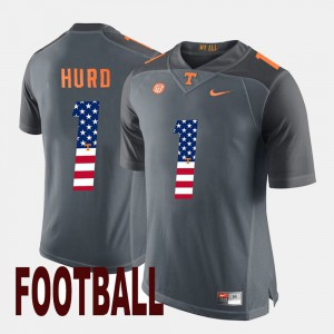 Mens #1 US Flag Fashion UT VOLS Jalen Hurd college Jersey - Gray