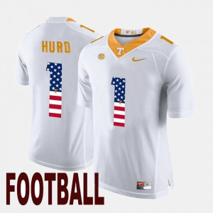 Men's US Flag Fashion #1 UT Volunteer Jalen Hurd college Jersey - White