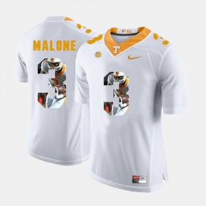 Mens #3 Pictorial Fashion Tennessee Volunteers Josh Malone college Jersey - White