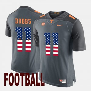 Men's US Flag Fashion UT Volunteer #11 Joshua Dobbs college Jersey - Gray