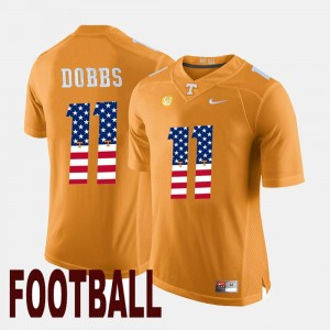 Men US Flag Fashion Tennessee #11 Joshua Dobbs college Jersey - Orange