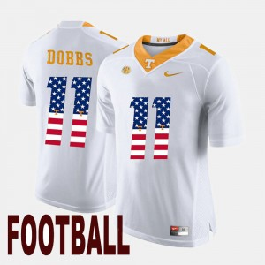 Men's #11 Tennessee Volunteers US Flag Fashion Joshua Dobbs college Jersey - White