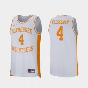 Men Basketball Retro Performance #4 University Of Tennessee Jacob Fleschman college Jersey - White