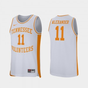 Mens #11 Basketball Retro Performance Tennessee Kyle Alexander college Jersey - White