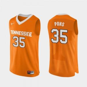 Men's UT Volunteer Authentic Performace #35 Basketball Yves Pons college Jersey - Orange