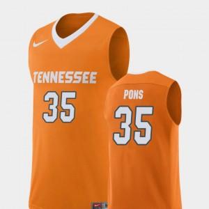 Men's Replica TN VOLS #35 Basketball Yves Pons college Jersey - Orange