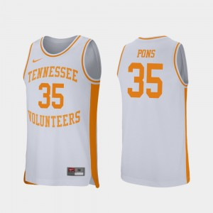 Men's #35 Retro Performance Basketball Tennessee Volunteers Yves Pons college Jersey - White