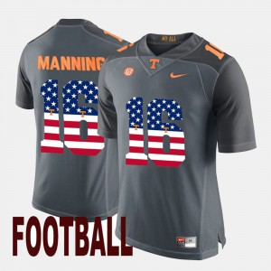 Men #16 US Flag Fashion Tennessee Peyton Manning college Jersey - Gray
