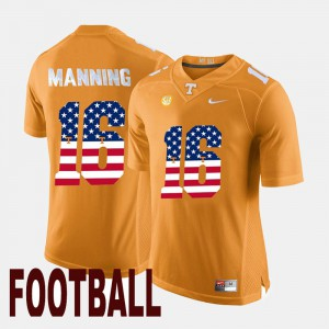 Men #16 UT US Flag Fashion Peyton Manning college Jersey - Orange