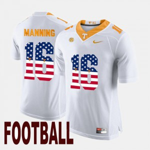 Men #16 Tennessee Vols US Flag Fashion Peyton Manning college Jersey - White