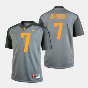 Mens #7 Football TN VOLS Brandon Johnson college Jersey - Gray