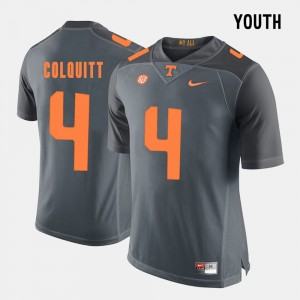 Youth(Kids) #4 Football UT VOL Britton Colquitt college Jersey - Grey