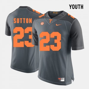 Kids Football Tennessee Volunteers #23 Cameron Sutton college Jersey - Grey