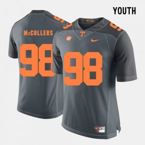 Kids #98 Tennessee Vols Football Daniel McCullers college Jersey - Grey