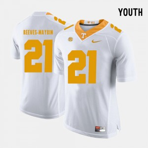 Youth(Kids) #21 Jalen Reeves-Maybin college Jersey - White Football Vols
