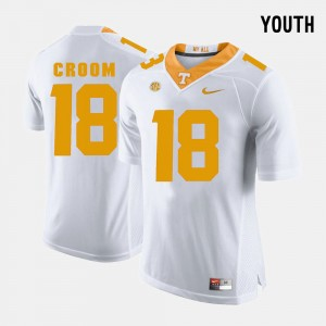 Youth(Kids) UT VOLS Football #18 Jason Croom college Jersey - White