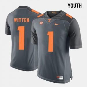 Youth(Kids) UT Volunteer Football #1 Jason Witten college Jersey - Grey