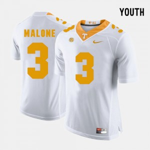 Youth(Kids) #3 Tennessee Vols Football Josh Malone college Jersey - White