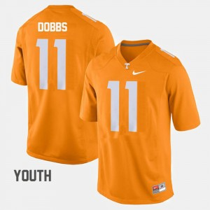 Youth(Kids) #11 Joshua Dobbs college Jersey - Orange Football TN VOLS