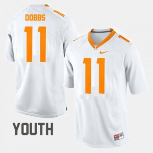 Kids UT Football #11 Joshua Dobbs college Jersey - White