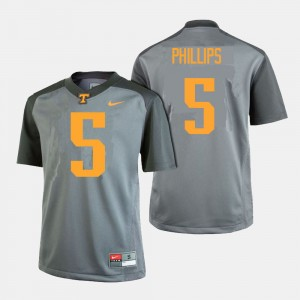 Men Football Tennessee Volunteers #5 Kyle Phillips college Jersey - Gray