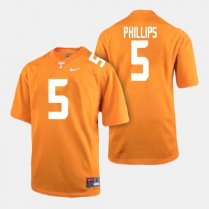 Men VOL Football #5 Kyle Phillips college Jersey - Orange