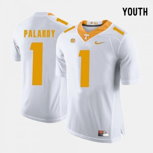 Youth VOL Football #1 Michael Palardy college Jersey - White