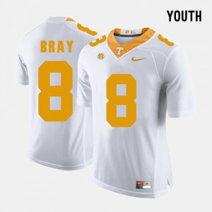 Youth(Kids) Football #8 UT VOLS Tyler Bray college Jersey - White