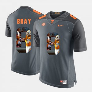 Mens Pictorial Fashion Tennessee Vols #8 Tyler Bray college Jersey - Grey