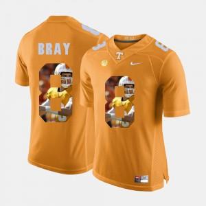 Men's UT Pictorial Fashion #8 Tyler Bray college Jersey - Orange